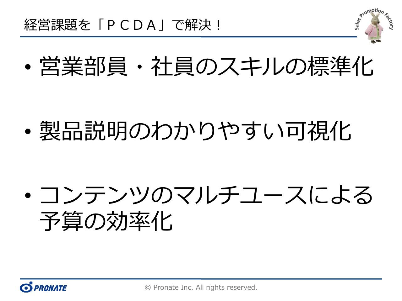 経営課題に対する解決法を実現する「PCDA」説明ボード