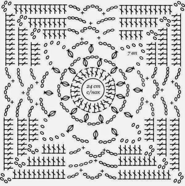 Вязание крючком квадраты красивые схемы 86