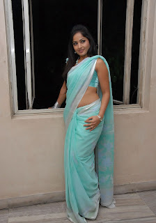 madhavi latha hot photos in Blue saree+(19)