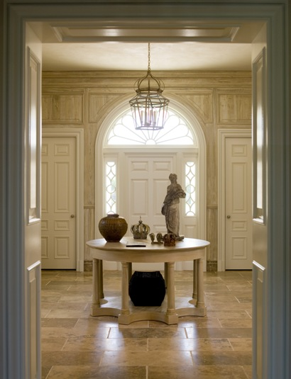 Foyer Table With Doors : Entry foyer table chandelier lighting entrance doors