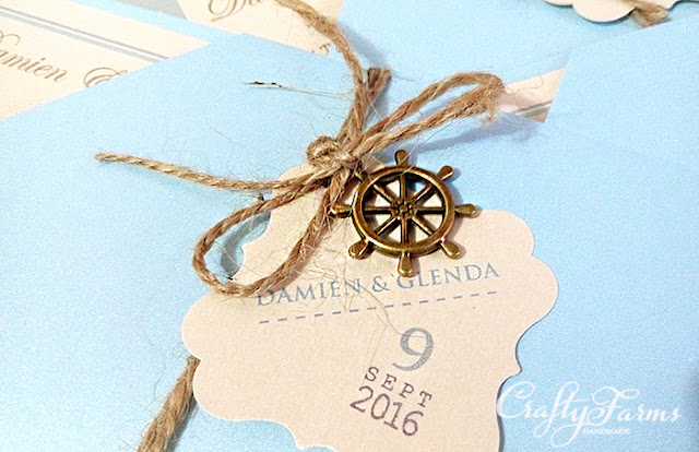 Boarding Pass Wedding Cards with Vintage Wheel Charms