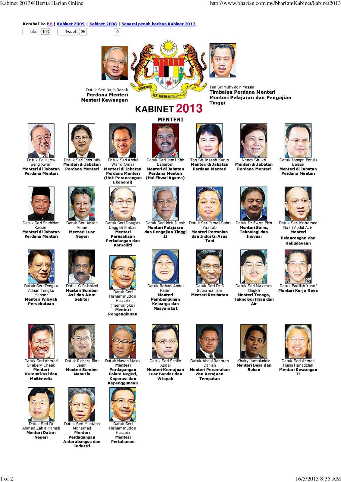 Aku dayat senarai penuh menteri kabinet baru malaysia 2013 - Kabinet multimedia ...