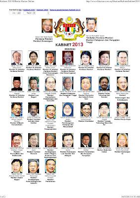 Senarai Penuh Menteri Kabinet Baru Malaysia 2013