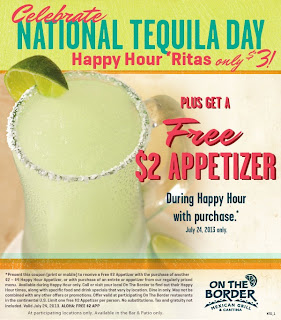 on the border free appetizer and $3 margarita coupon