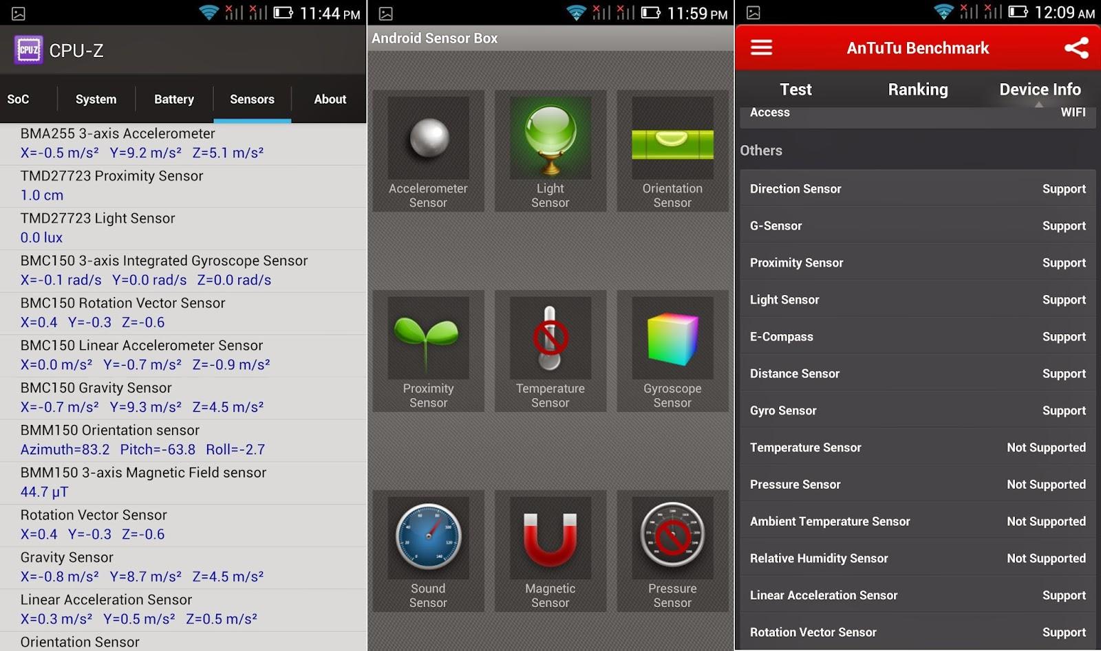 Cherry Mobile Cosmos Z2 Sensors