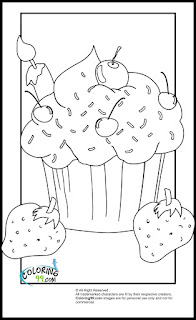 cupcake and strawberry coloring pages