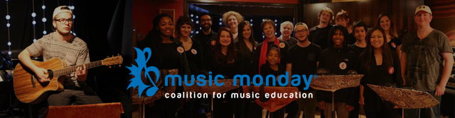 image Music Monday Banner - Coalition for Music Education guitarist and large group of signers