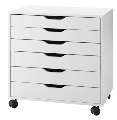 short drawer unit p 6 drawers, white