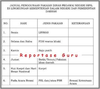 Jadwal Pemakaian Seragam PNS Berdasarkan Permendagri Nomor 68 Tahun 2015