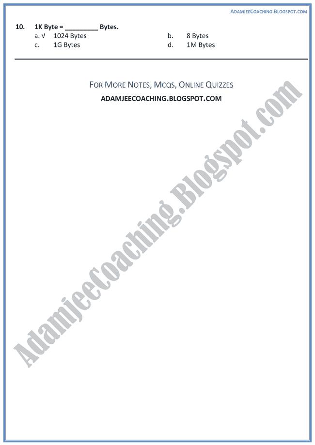 Computer-Components-MCQs-Computer-IX