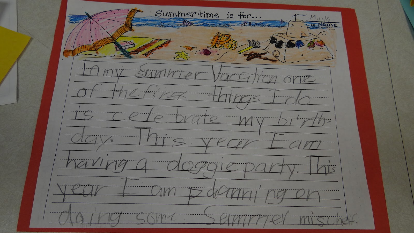 PATTIES CLASSROOM: Summer Vacation Writing
