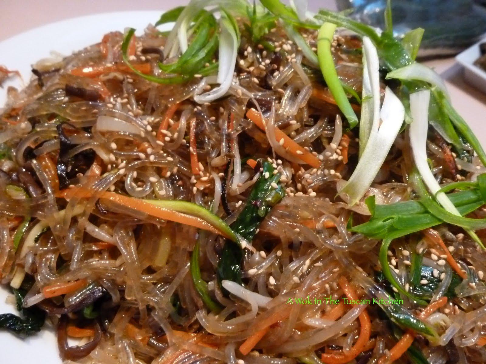 A Wok in the Tuscan Kitchen: Japchae, Korean Glass Noodles