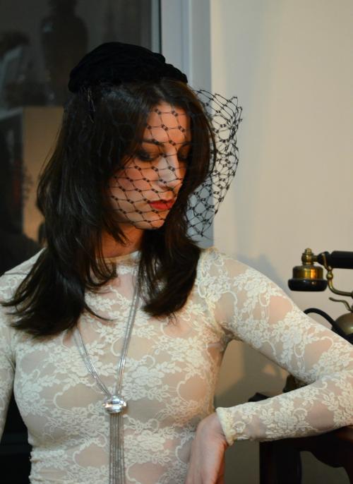 Black velvet fifties hat with veil