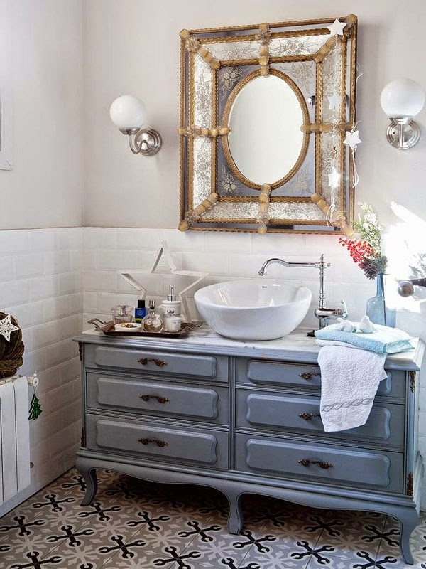 Azulejos Para Baños Vintage:suelo combinadacon azulejos retros de la pared, mueble restaurado para
