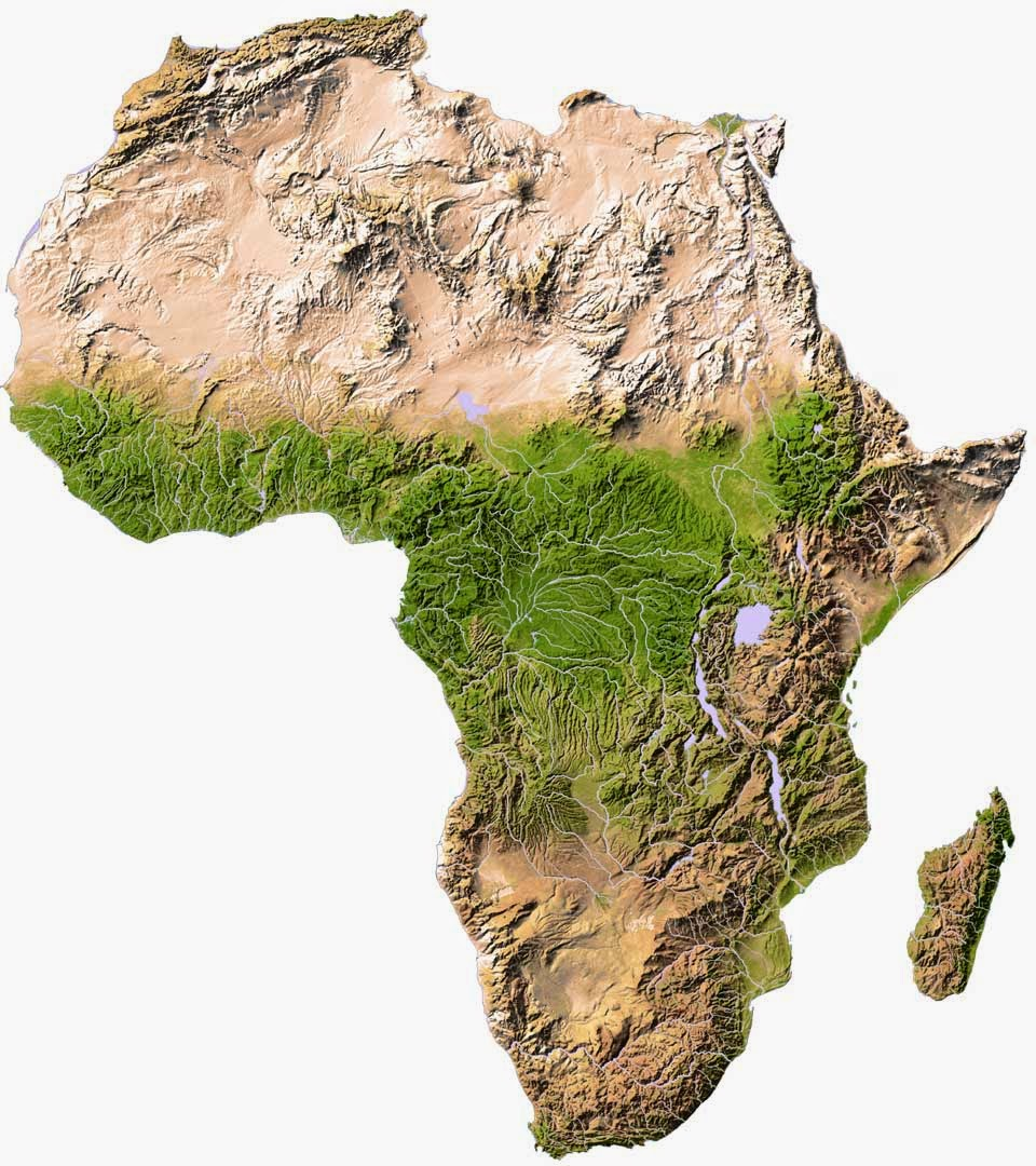 Small Africa physical features map showing contours