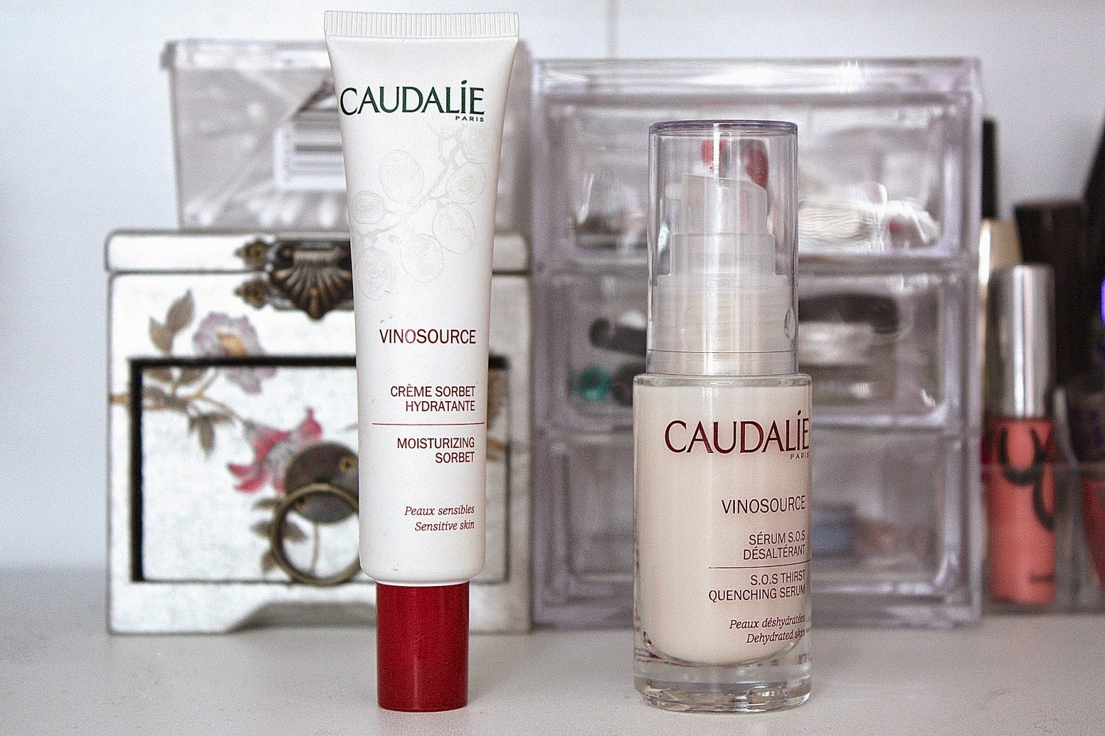 Caudalie Creme Sorbet, Caudalie Vinosource SOS Thirst Quenching Serum