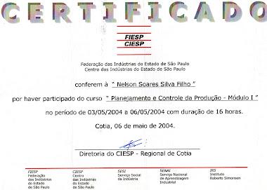 CERTIFICADO DO CURSO DE PCP (PROGRAMAÇÃO E CONTROLE DE PRODUÇÃO)