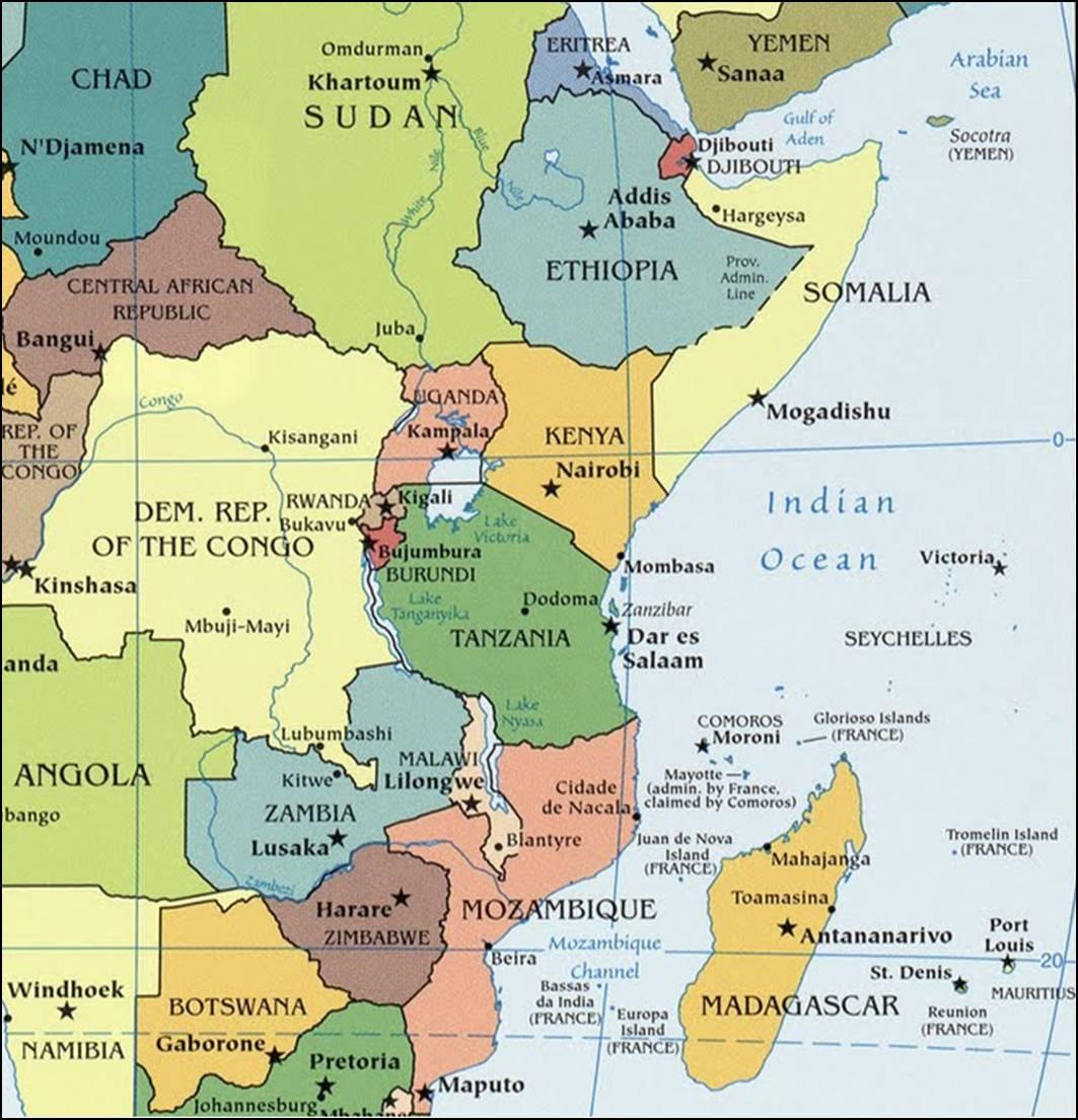 Kaart oost afrika topografie landen hoofdsteden meren rivieren
