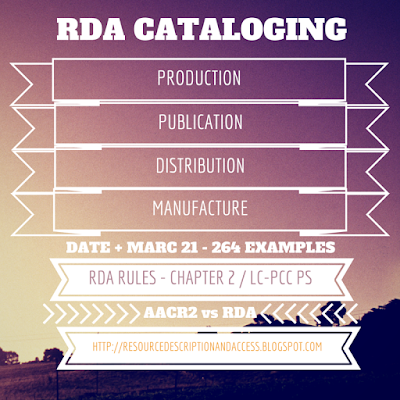 RDA - Production Publication Distribution Manufacture Date - MARC 264