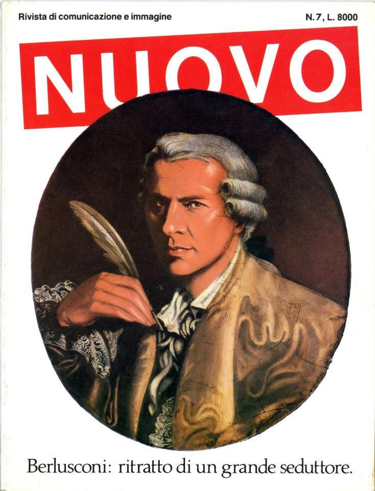 Nuovo n. 7, 1984-1985. Il ritratto di Berlusconi-Casanova è di Antonio  Perosa; l'art direction di Francesco Rizzi.