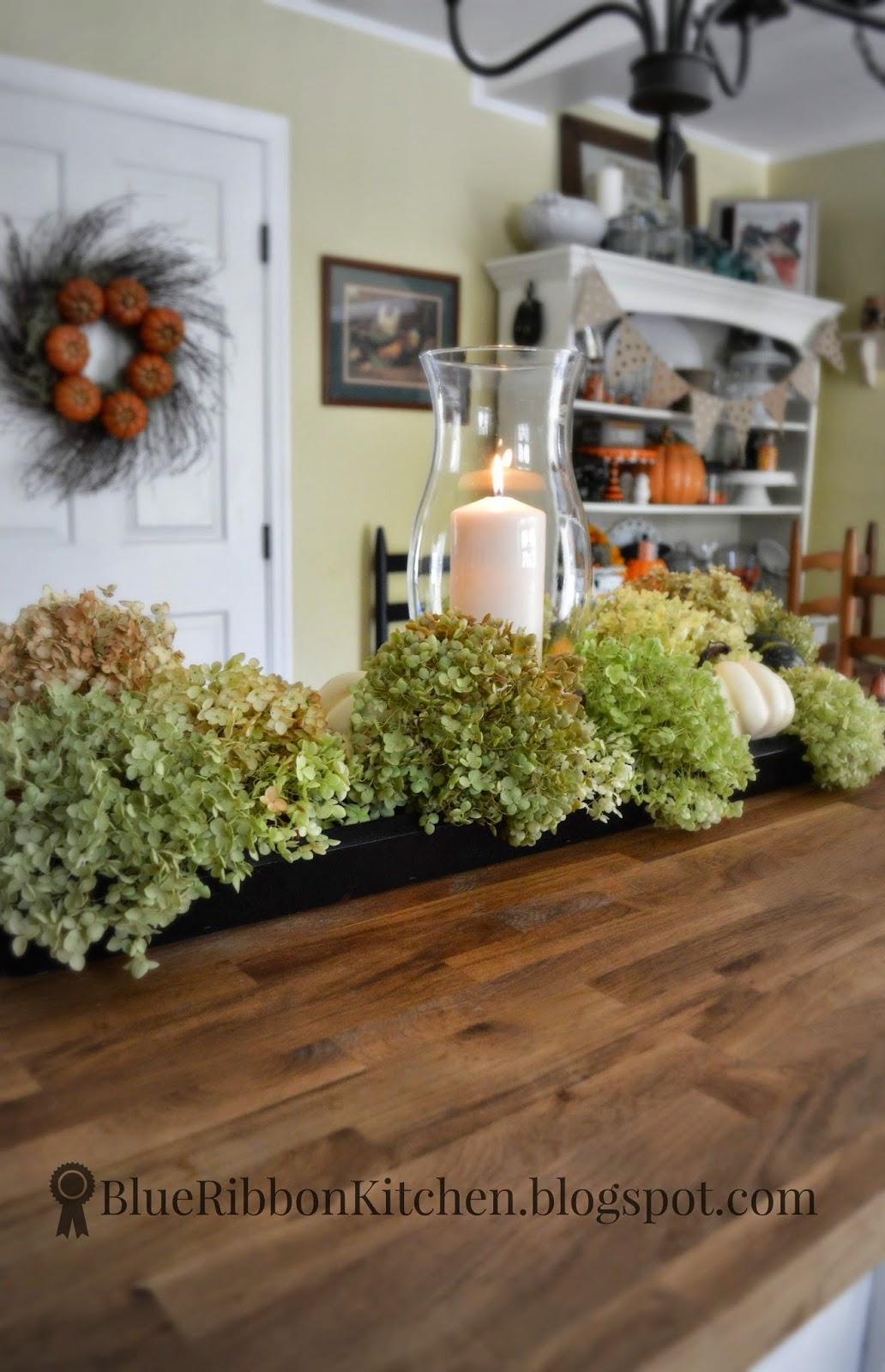 Blue ribbon kitchen dried hydrangeas wreath centerpiece