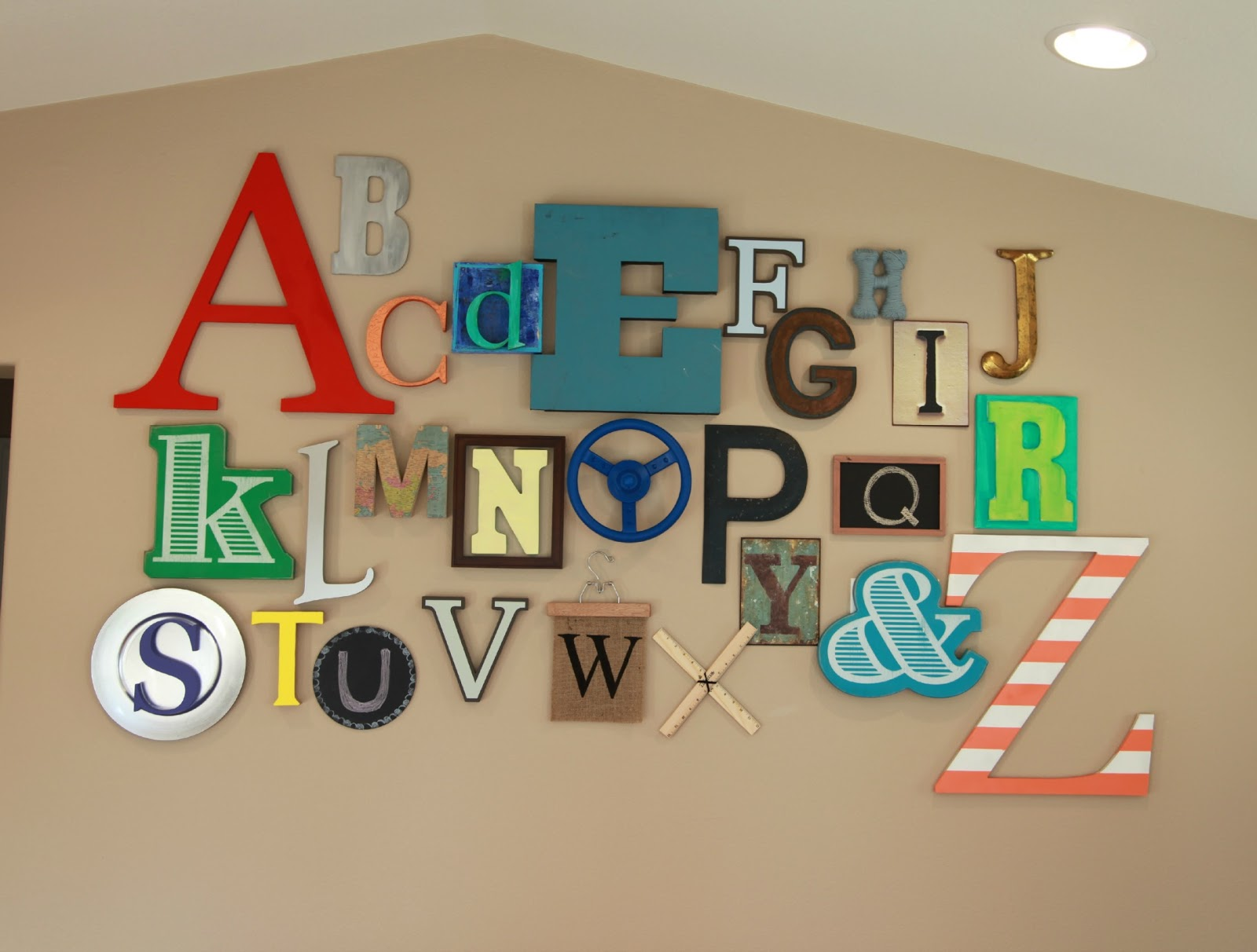 Thrive 360 living 10 fun ideas for playroom walls for Wall letter designs