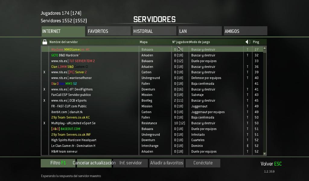 lista de servidores call of duty: