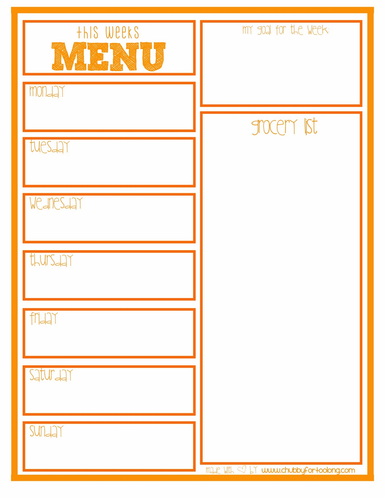 menu planning printable free printable chubby for too long