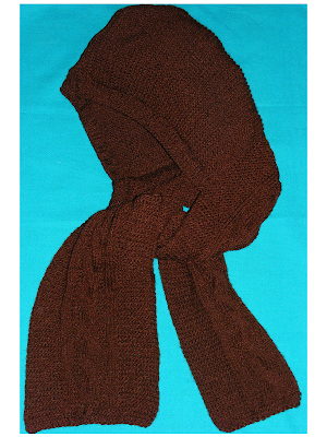 fular gluga maro gri handmade tricotat iarna