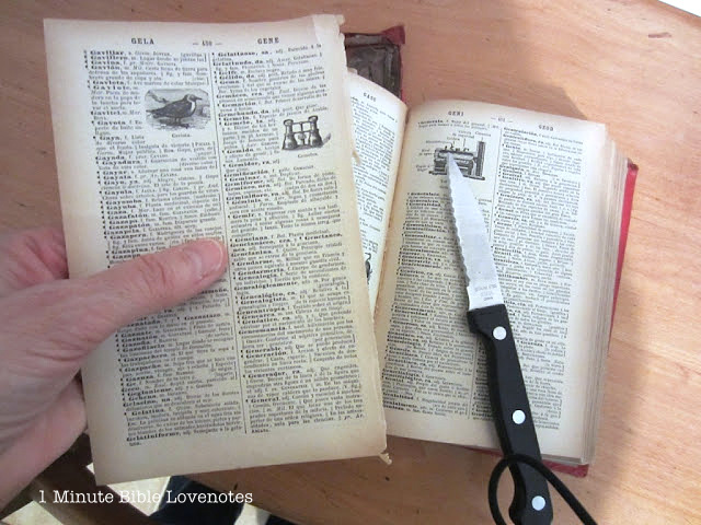 Make bookmarks from vintage book pages, by 1 Minute Bible Love Notes via I Love That Junk