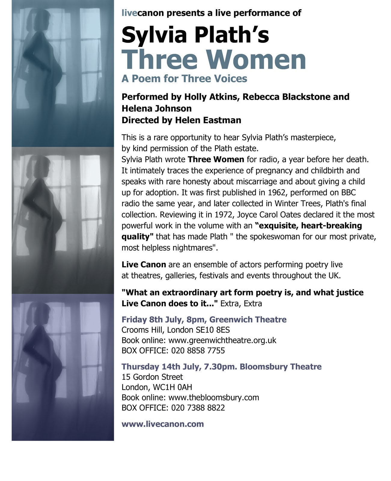 Helen Eastman Of Live Canon Is Directing Two Performances Of Sylvia Plath's  Verse Poem