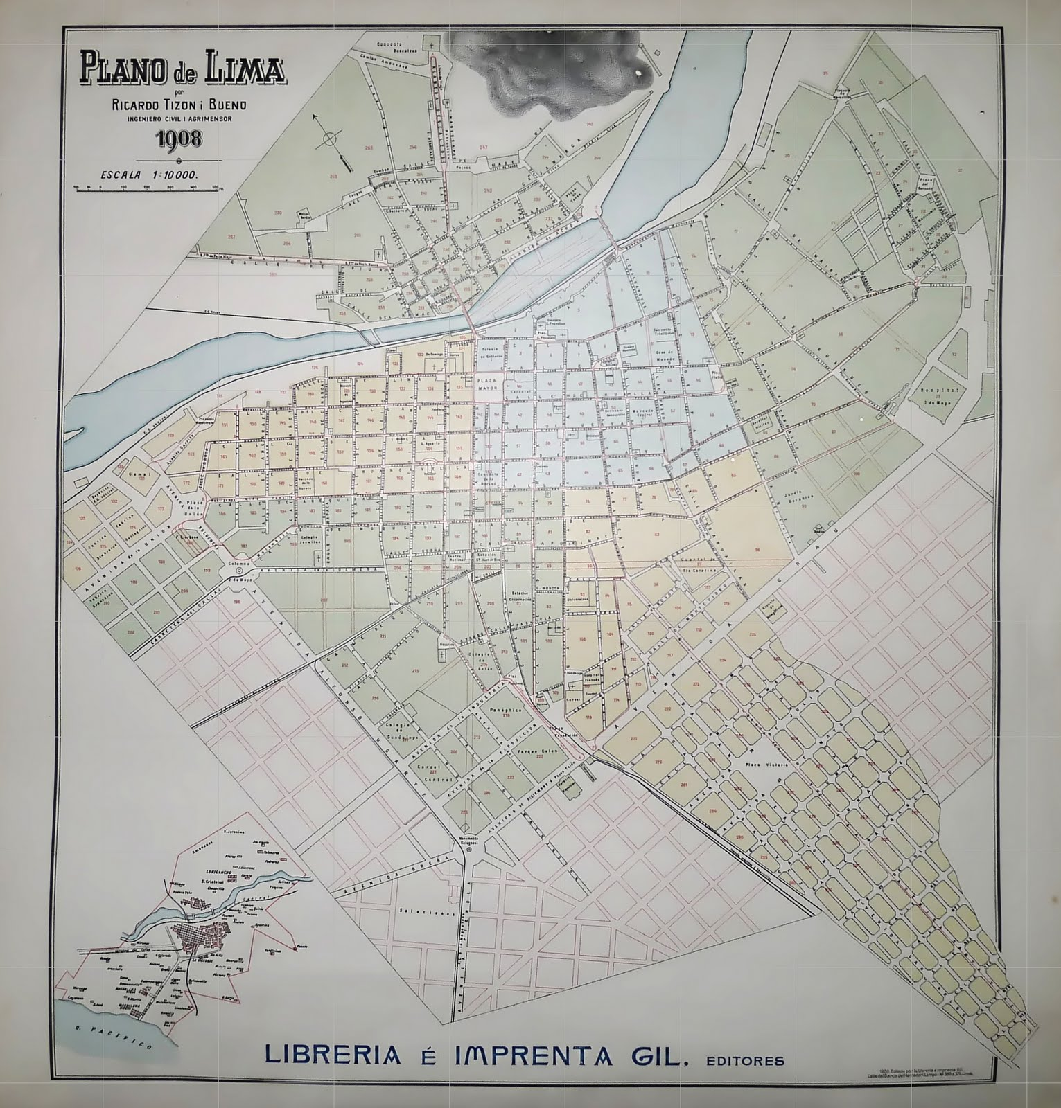 Planos de Lima Antigua Plano de Lima por Ricardo Tizon i Bueno 1908