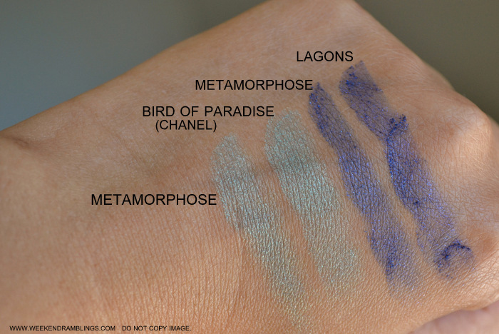 Chanel Metamorphose 44 Eyeshadow Quad LÉté Papillon de Chanel Summer 2013 Makeup Collection Bird of Paradise Lagons Comparisons Swatches