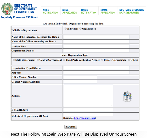 bseap website login page for ssc marks memo downloading