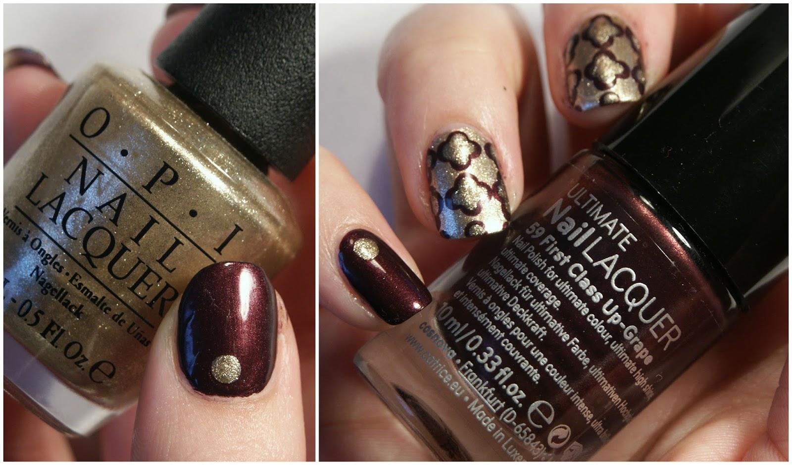 Rot Goldene Quatrefoil Nails