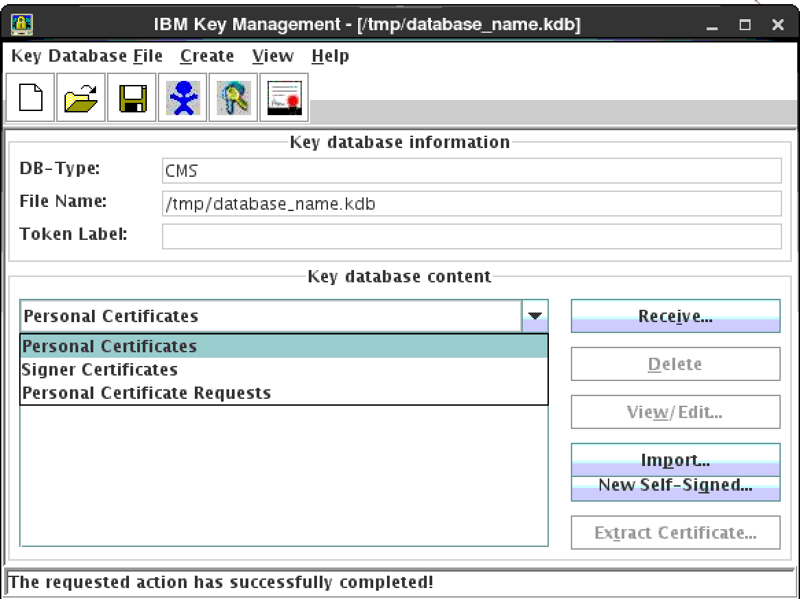 Spirited living configuring ssl for ibm http server ihs and ibm after receiving the signed certificate files from the certificate authority open the key database using the ikeyman tool and in the key database content 1betcityfo Gallery