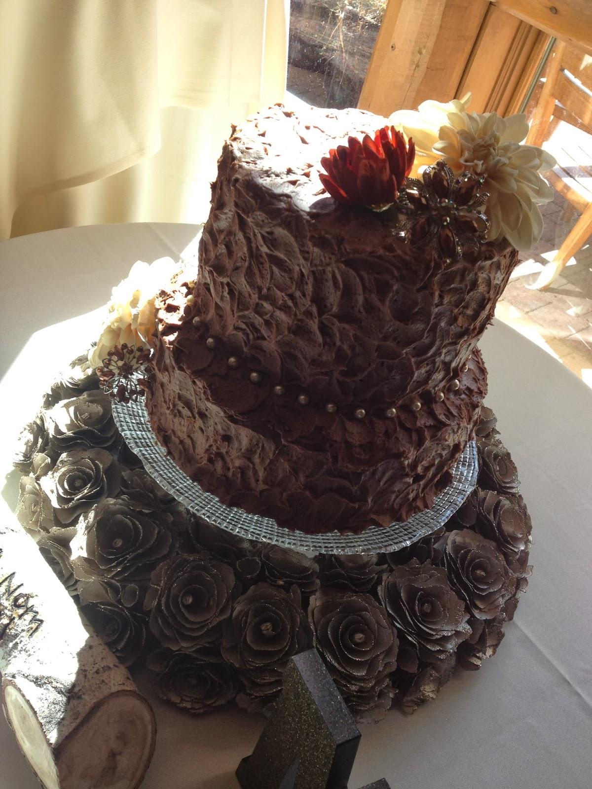Sugar Love Cake Design Rustic Chocolate Wedding Cake - Fudge Wedding Cake