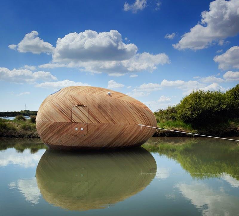 El estudio flotante Exbury en forma de huevo del estudio PAD, el grupo SPUD y el artista Stephen Turner