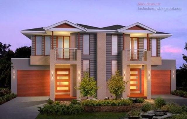 Fachadas modernas de d plex fachadas de casas y casas for Fachadas de viviendas modernas
