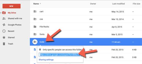 Mengambil URL folder di Google Drive