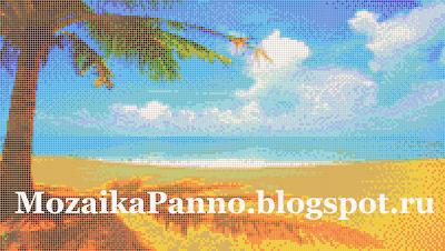 Картина из стеклянной мозаики «Пейзаж с пальмой»