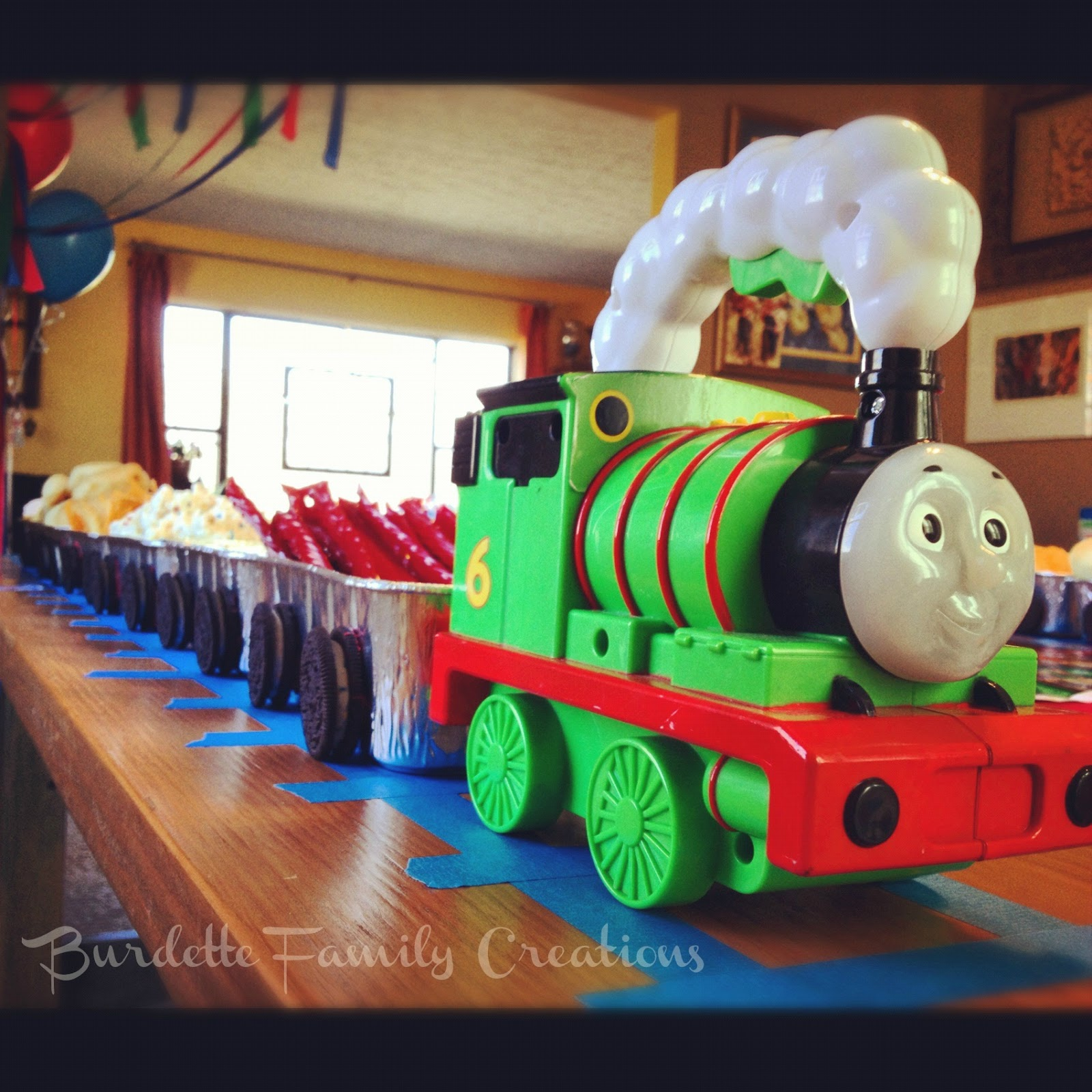 burdette family creations thomas the train birthday party. Black Bedroom Furniture Sets. Home Design Ideas