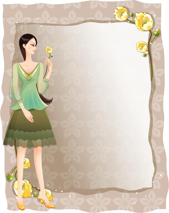 美女と花ビラのフレーム beauty classic flower borders イラスト素材11
