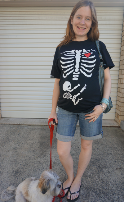 away from blue pregnant australian blogger wearing skeleton xray bones ninja baby tee