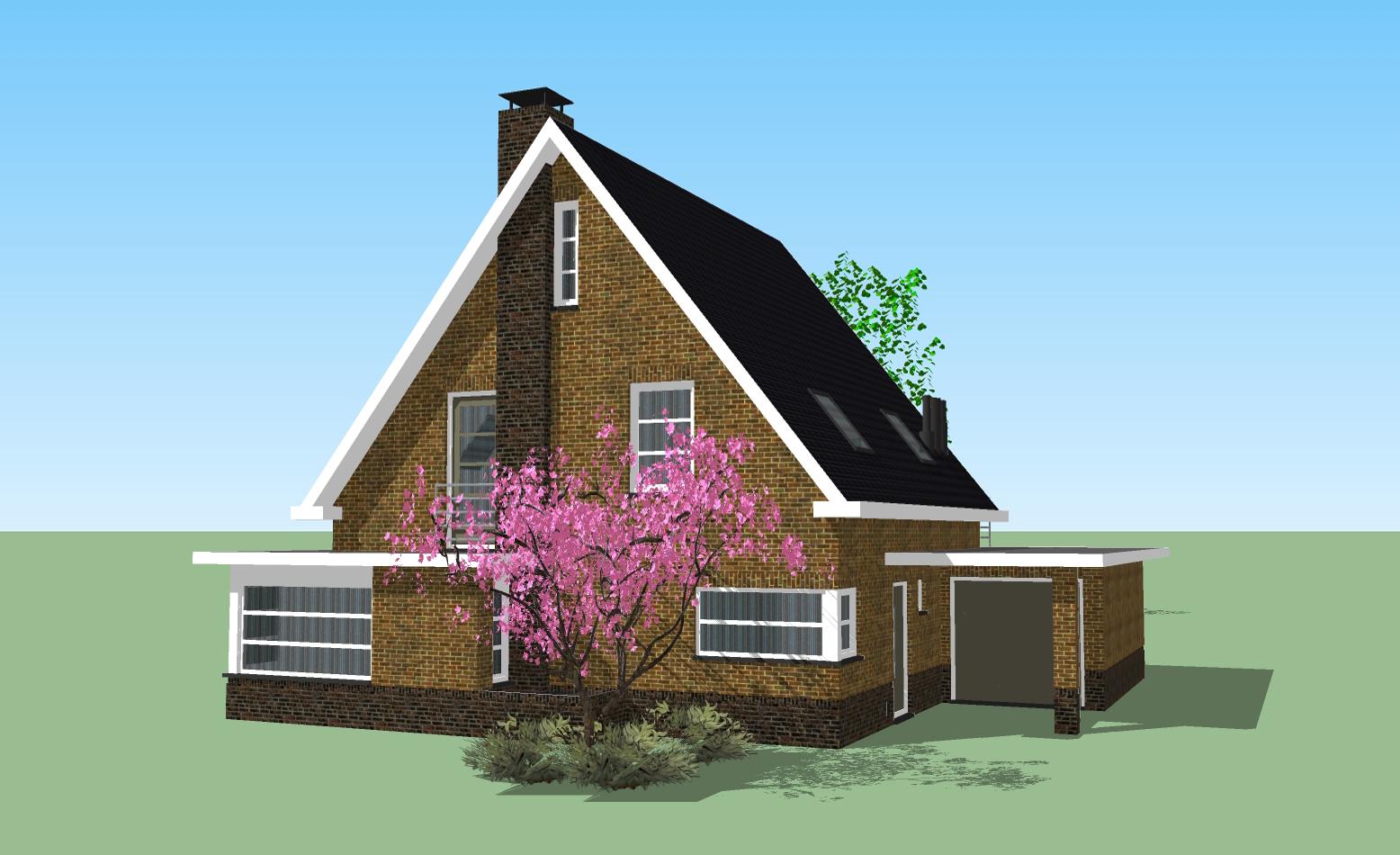 Huis q u a d r a sketchup for Huizen tekenen