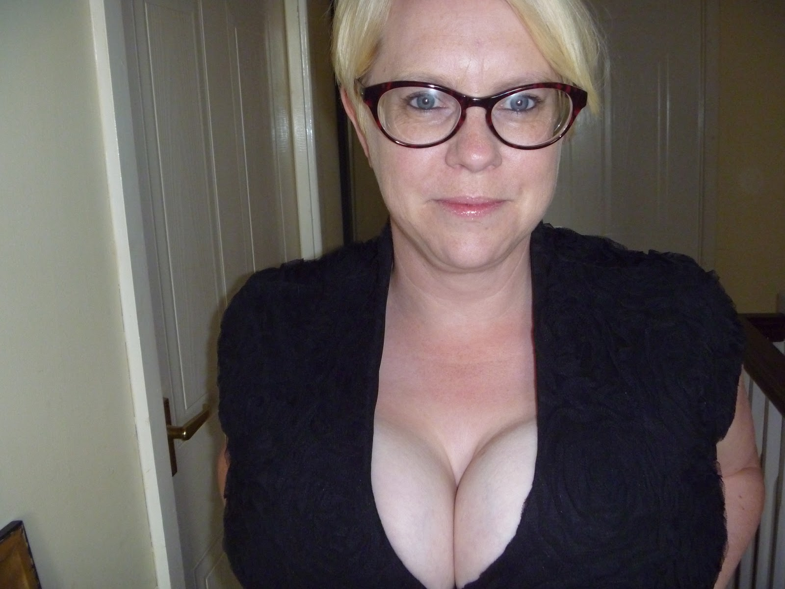 Blonde glasses tits flash