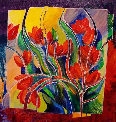 carol nelson fine art blog tulip fiesta 12051 acrylic tulip flower contemporary painting. Black Bedroom Furniture Sets. Home Design Ideas