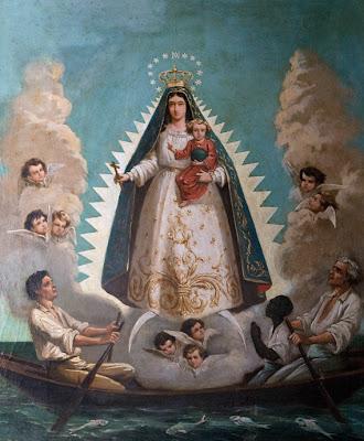 Imagen de la Virgen de la Caridad del Cobre Sobre Una Barca Protegiendo a los Navegantes