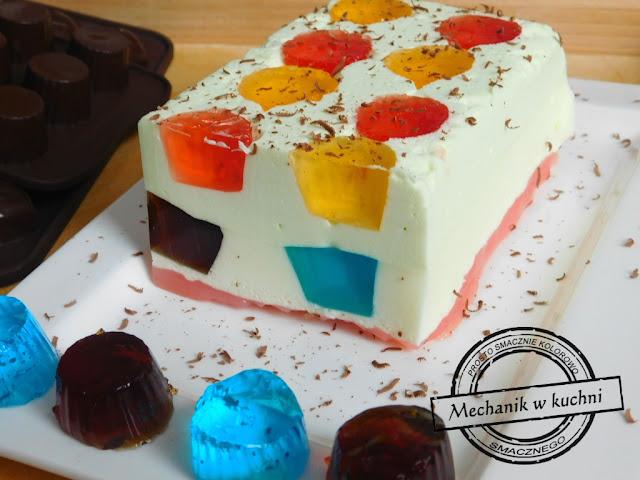 galaretkowe ciasto szybki i lekki deser ciasto na zimno Kinderbal galaretkowiec przepis galaretkowiec bez gotowania galaretkowiec galaretki ciasta galaretkowiec ciasto z galaretek i serków homogenizowanych galaretkowiec z jogurtem galaretkowiec z mlekiem