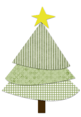 scrapboking Free country Christmas tree download print cut and assemble green gingham stripes and circles